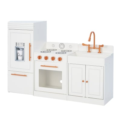 """Child's """"Little Chef"""" Paris Modern Play Kitchen in White and Rose Gold"""