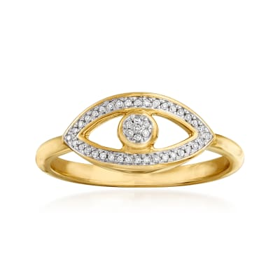 14kt Yellow Gold Evil Eye Ring with Diamond Accents
