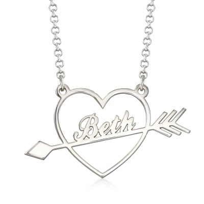 Sterling Silver Personalized Heart and Arrow Pendant Necklace