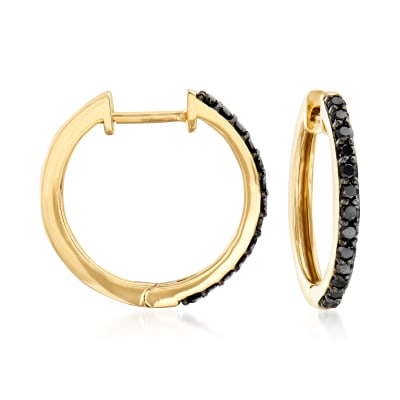 .25 ct. t.w. Black Diamond Hoop Earrings in 14kt Yellow Gold
