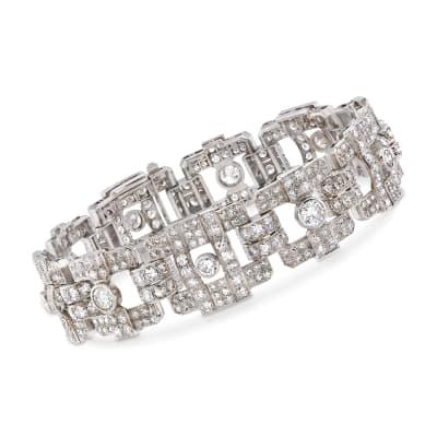 C. 1970 Vintage 13.35 ct. t.w. Diamond Link Bracelet in Platinum