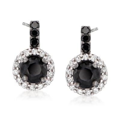 1.50 ct. t.w. Black and White Diamond Drop Earrings in Sterling Silver