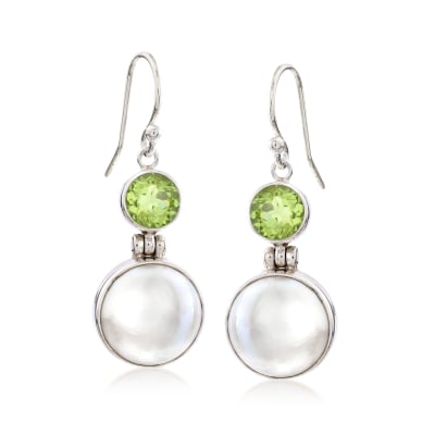 2.20 ct. t.w. Peridot and 13mm Cultured Mabe Pearl Drop Earrings in Sterling Silver