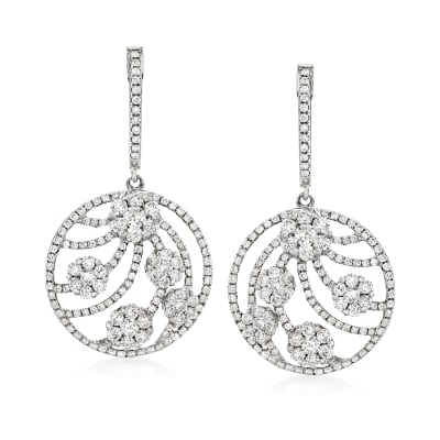 C. 2000 Vintage 2.32 ct. t.w. Diamond Floral Circle Drop Earrings in 18kt White Gold