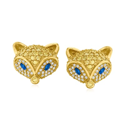 2.20 ct. t.w. CZ and .10 ct. t.w. Simulated Sapphire Fox Earrings in 18kt Gold Over Sterling