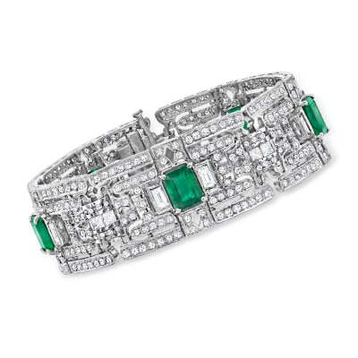 8.30 ct. t.w. Emerald and 7.70 ct. t.w. Diamond Bracelet in 14kt White Gold