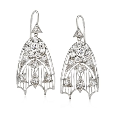 C. 1990 Vintage 1.70 ct. t.w. Diamond Filigree Drop Earrings in Platinum