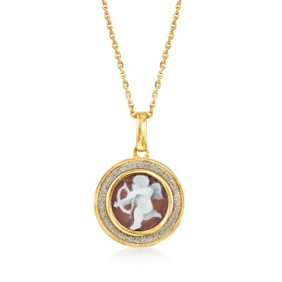 Italian Shell Cameo Cupid Pendant Necklace in 18kt Gold Over Sterling