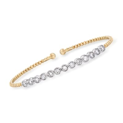 Gabriel Designs 1.04 ct. t.w. Diamond Cuff Bracelet in 14kt Two-Tone Gold