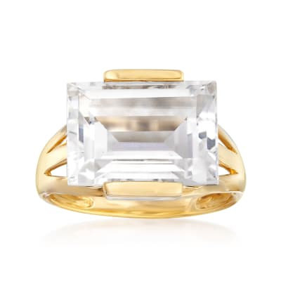 Rock Crystal Ring in 14kt Yellow Gold