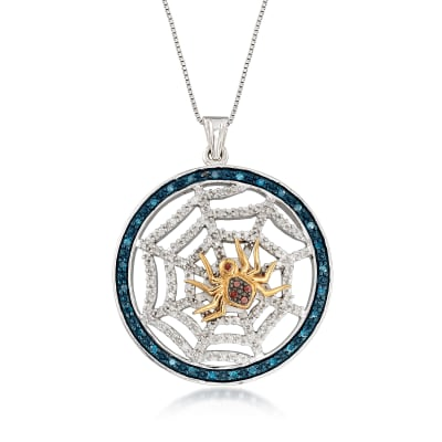 .56 ct. t.w. Multicolored Diamond Spider and Web Pendant Necklace in Two-Tone Sterling Silver