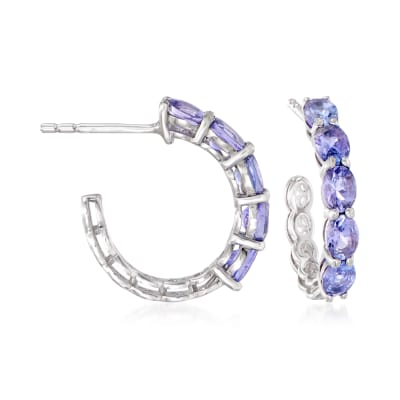 1.50 ct. t.w. Tanzanite Hoop Earrings in Sterling Silver