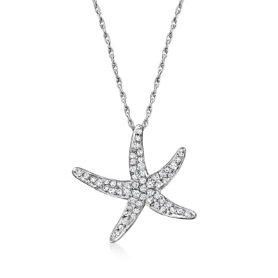 .25 ct. t.w. Diamond Starfish Pendant Necklace in Sterling Silver
