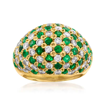 C. 1980 Vintage 2.19 ct. t.w. Diamond and 1.77 ct. t.w. Emerald Dome Ring in 18kt Yellow Gold