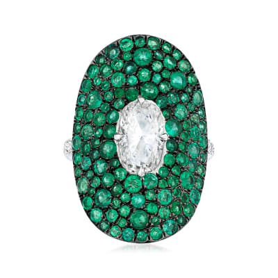 1.15 Carat Diamond Ring with 2.59 ct. t.w. Emeralds and .14 ct. t.w. Diamonds in 18kt White Gold