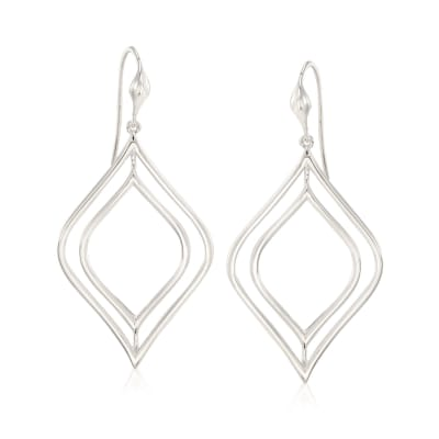 """Zina Sterling Silver """"Contemporary"""" Double Marquise Drop Earrings"""