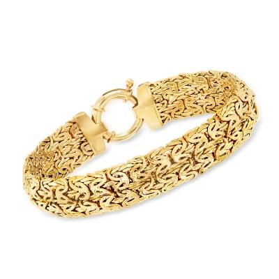 18kt Gold Over Sterling Wide Byzantine Bracelet