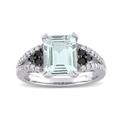 2.00 Carat Aquamarine and .38 ct. t.w. Black and White Diamond Ring in Sterling Silver