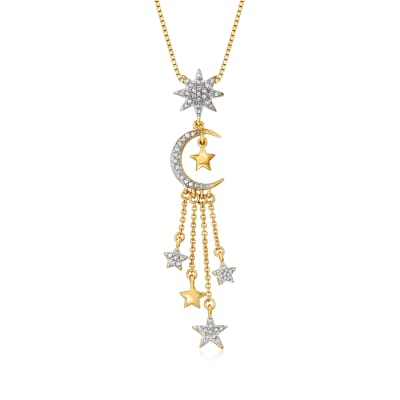 .33 ct. t.w. Diamond Star and Moon Pendant Necklace in 18kt Gold Over Sterling