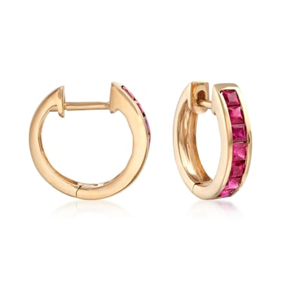 .80 ct. t.w. Ruby Huggie Hoop Earrings in 14kt Yellow Gold