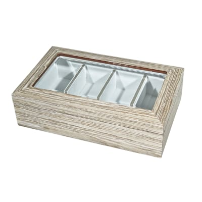 Gray and Taupe Wooden Eyeglass Box