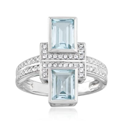 2.00 ct. t.w. Sky Blue Topaz and .20 ct. t.w. White Topaz Ring in Sterling Silver