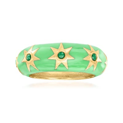 .20 ct. t.w. Emerald and Green Enamel Star Ring in 18kt Gold Over Sterling