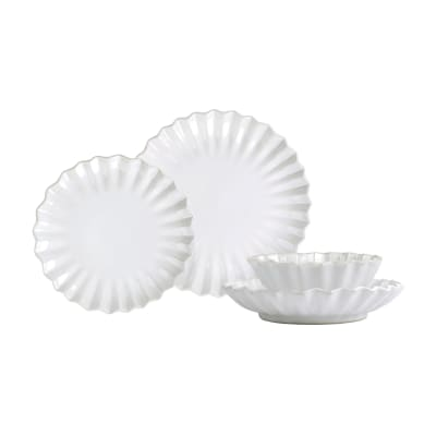 "Vietri ""Incanto Stone"" White Pleated 4-pc. Place Setting from Italy"