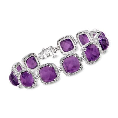 65.00 ct. t.w. Amethyst and 1.75 ct. t.w. Diamond Bracelet in 14kt White Gold