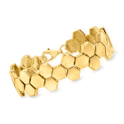 18kt Gold Over Sterling Honeycomb-Style Bracelet