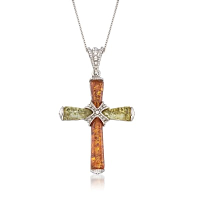 Two-Tone Amber Cross Pendant Necklace in Sterling Silver