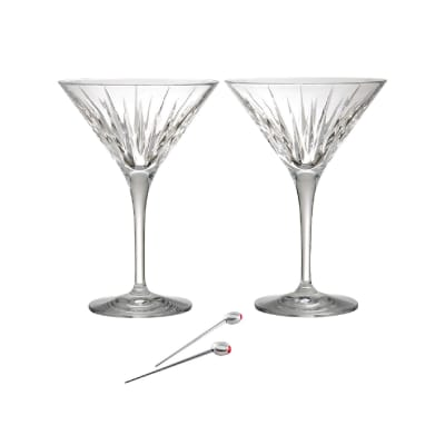 "Reed & Barton ""Soho"" Set of Two Martini Glasses with Olive Picks"