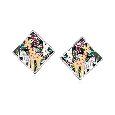 "Belle Etoile ""Serengeti"" Black and Multicolored Enamel Earrings with CZ Accents in Sterling Silver"