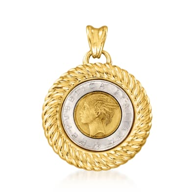 Italian Andiamo 14kt Yellow Gold Over Resin Genuine 500-Lira Coin Pendant