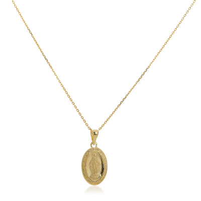 14kt Yellow Gold Oval Mary Medal Pendant Necklace