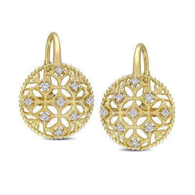 .20 ct. t.w. Diamond Milgrain Openwork Drop Earrings in 14kt Yellow Gold