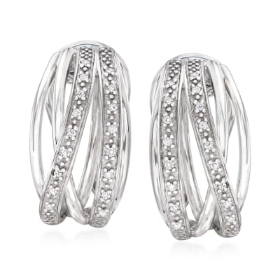 .10 ct. t.w. Diamond Highway Huggie Hoop Earrings in Sterling Silver