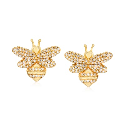 .33 ct. t.w. Diamond Bee Earrings in 18kt Gold Over Sterling