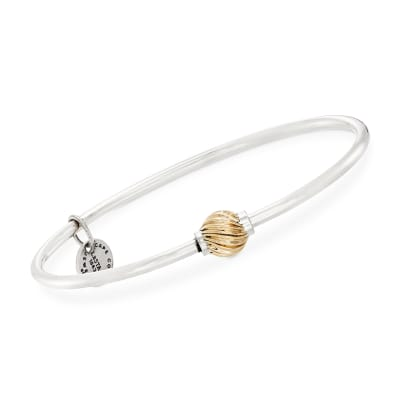 Sterling Silver and 14kt Yellow Gold Cape Cod Single Swirled Bead Bangle Bracelet