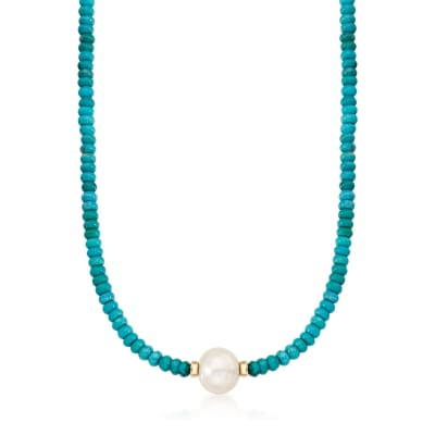 Turquoise Bead and 12-13mm Cultured Pearl Necklace in 14kt Yellow Gold