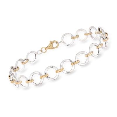 14kt Two-Tone Gold Circle Link Bracelet