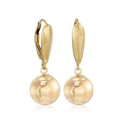 8mm 14kt Yellow Gold Ball Drop Earrings
