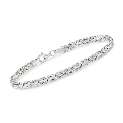 Sterling Silver Flat Byzantine Bracelet