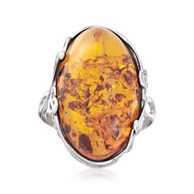Orange Amber Ring in Sterling Silver