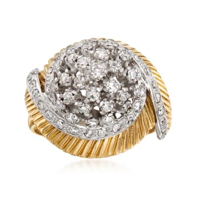 C. 1970 Vintage 1.45 ct. t.w. Diamond Dome Ring in 18kt Yellow Gold