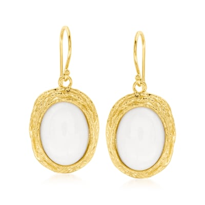 White Agate Drop Earrings in 18kt Gold Over Sterling