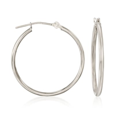1.5mm 14kt White Gold Hoop Earrings