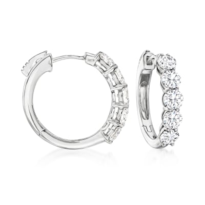 2.00 ct. t.w. Diamond Five-Stone Hoop Earrings in 14kt White Gold