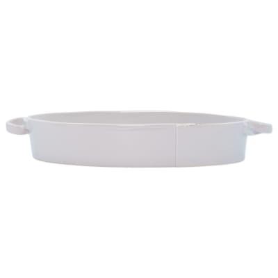 "Vietri ""Lastra"" Light Gray Handled Oval Baker from Italy"