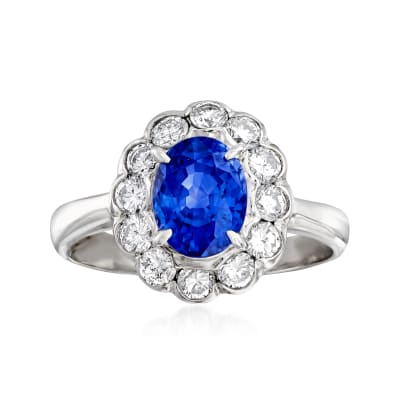 C. 2000 Vintage 1.71 Carat Sapphire and .63 ct. t.w. Diamond Ring in Platinum